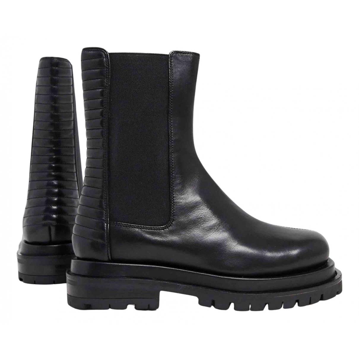 Asos - Bottes   pour femme en cuir - noir