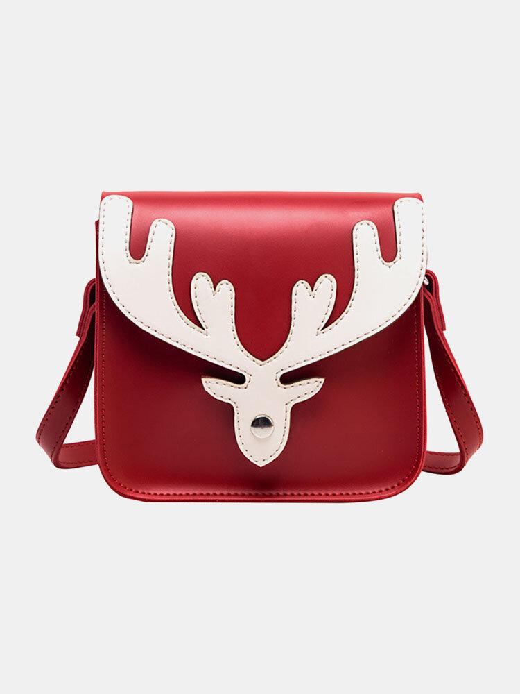 Women Patchwork Christmas Elk Small Square Bag Crossbody Bag