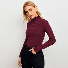 Mock-Neck Lettuce Trim Rib-knit Top