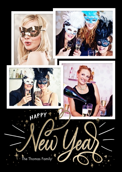 New Year's Photo Cards 5x7 Cards, Premium Cardstock 120lb with Elegant Corners, Card & Stationery -Happy New Year Script by Tumbalina
