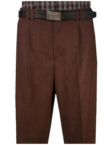 Mens Wide Leg Single Pleat Light Weight Brown Pant