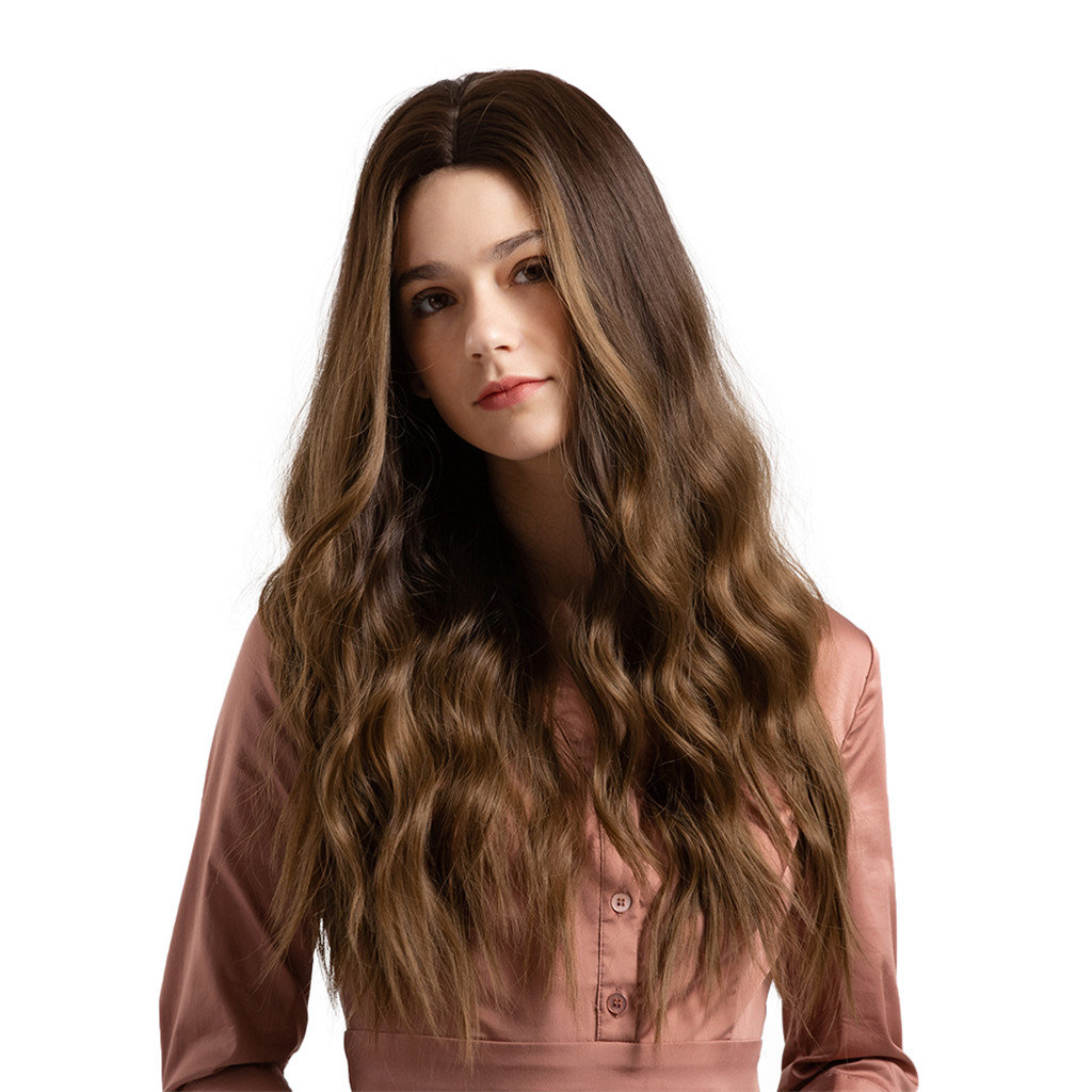Natural Wavy Synthetic Wigs Gradient Brown Long Hair Wigs For Women 26 Inch