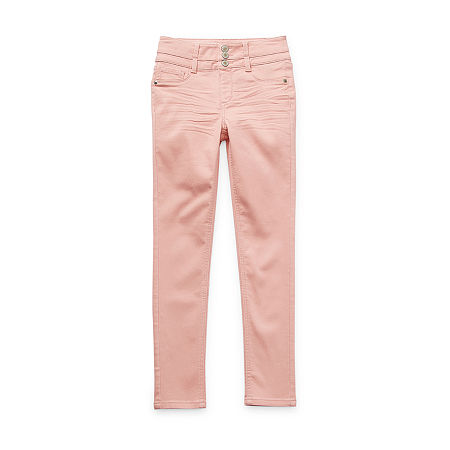 Arizona Stacked Waist Little & Big Girls High Rise Skinny Fit Jean, 6 , Pink