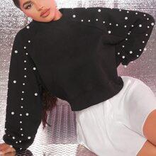 Pullover mit Perlen Detail und Raglanaermeln