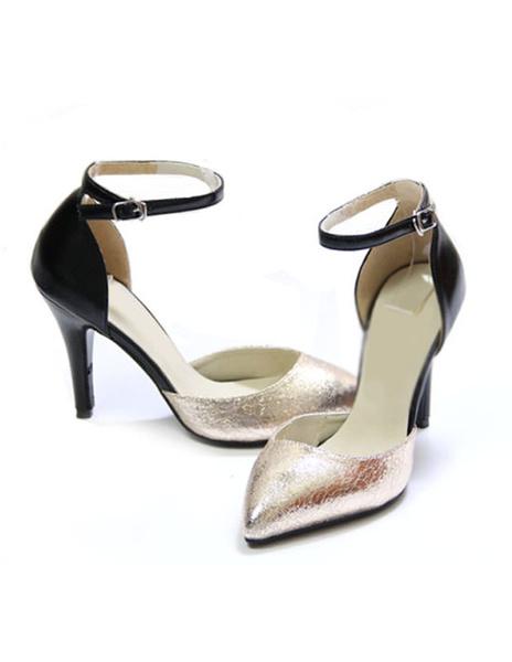 Milanoo Zapatos de punta triangular de cuero sintetico de color plateado