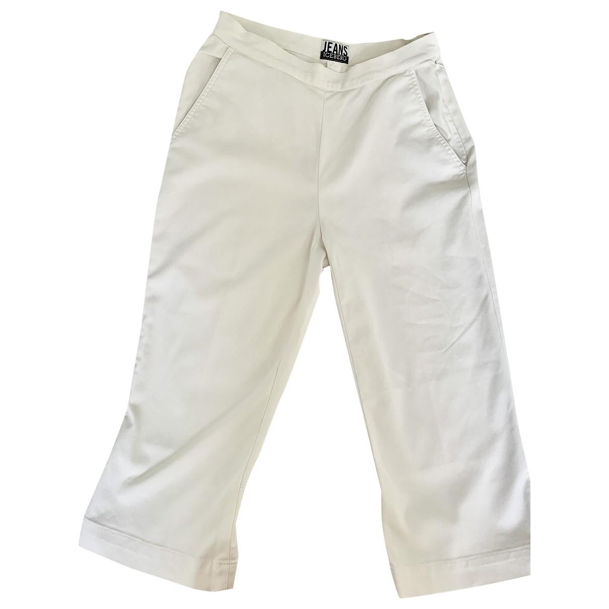 Pantalon en Algodon Blanco Iceberg