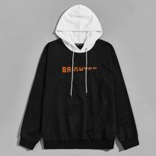 Men Embroidery Letter Contrast Drawstring Hoodie