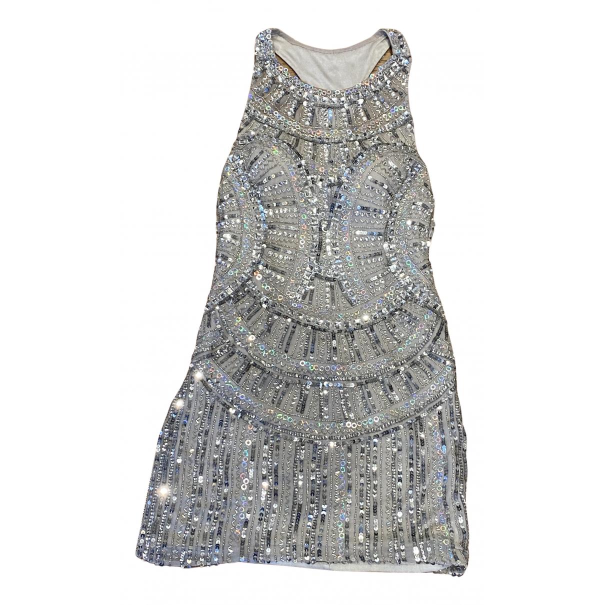 Non Signe / Unsigned \N Kleid in  Silber Seide