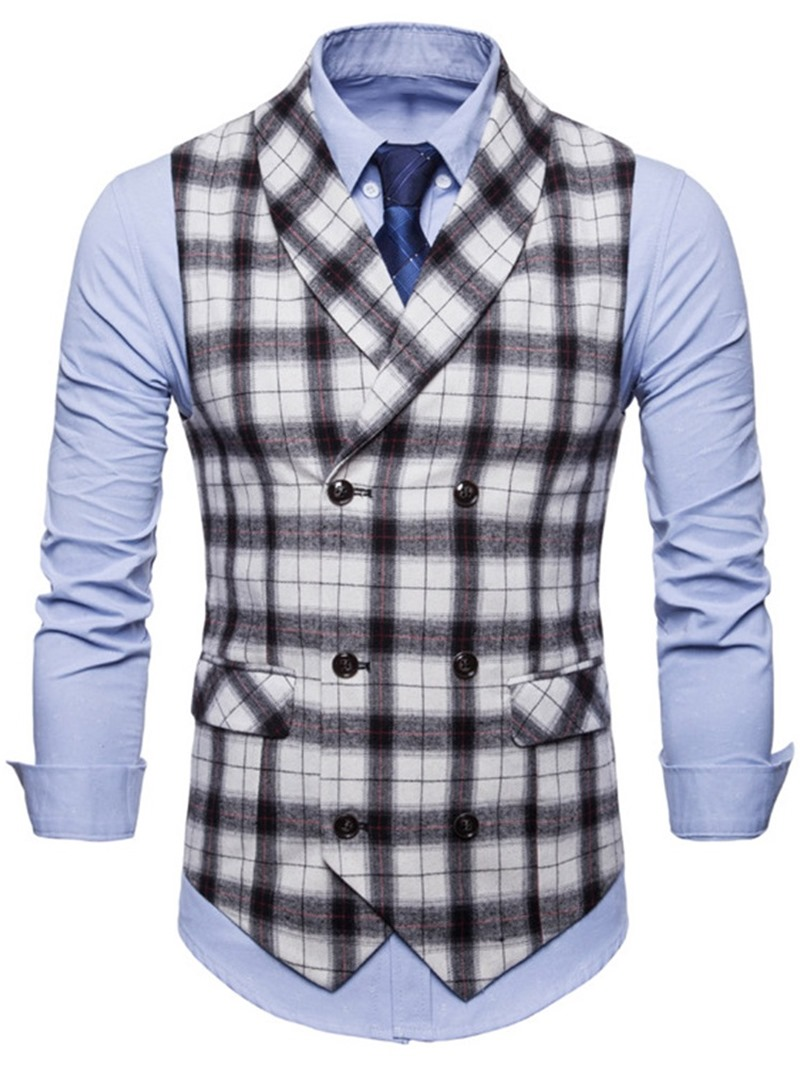 Ericdress Plaid Lapel Double Breasted Mens Casual Dress Vest