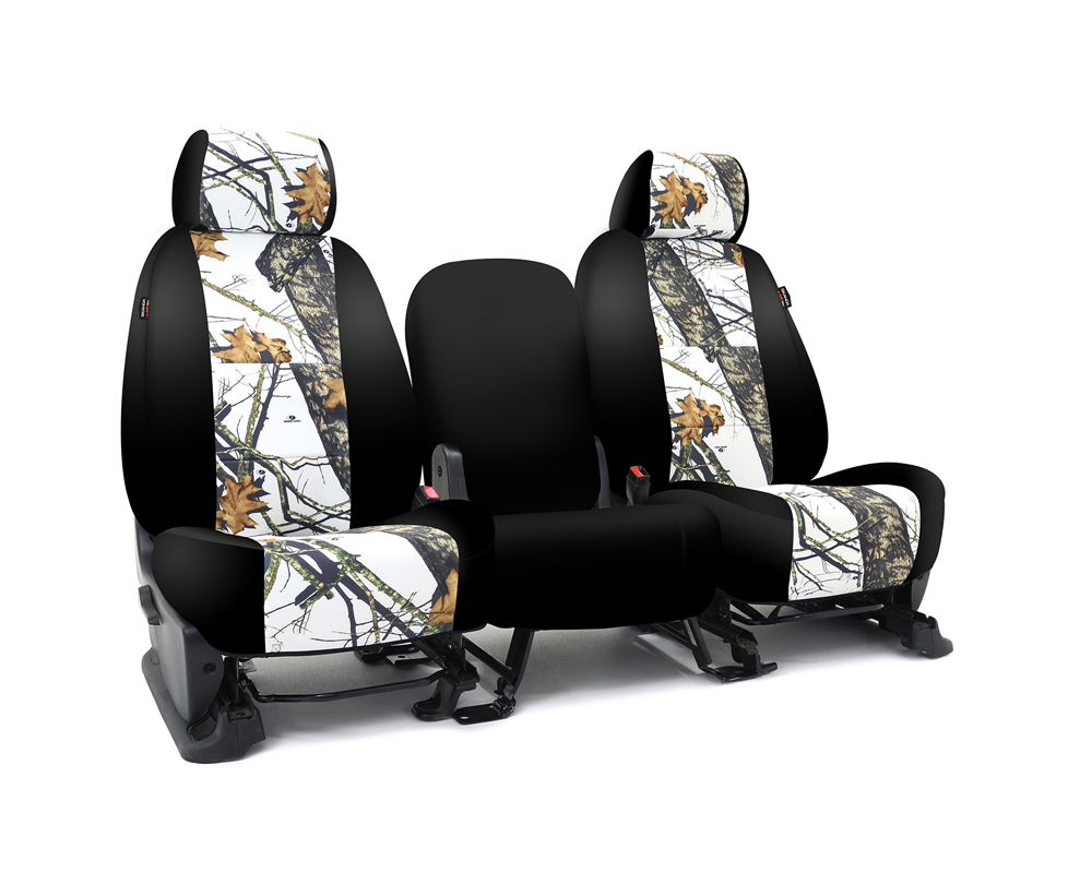 Coverking CSC2MO09NS9762 Skanda Custom Seat Covers 1 Row Neosupreme Mossy Oak Break Up Winter Print with Black Sides Front Nissan Frontier 2012-2014