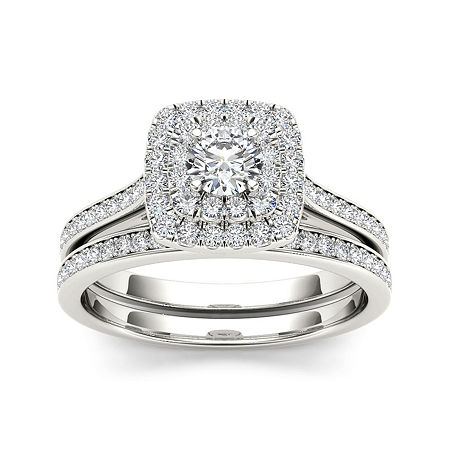 3/4 CT. T.W. Diamond Halo 10K White Gold Bridal Ring Set, 9 , No Color Family