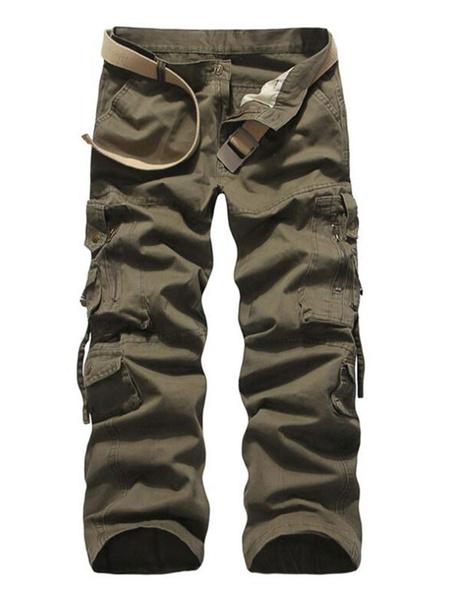 Milanoo Men Cargo Pant Cotton Pocket Straight Leg Tactical Pant