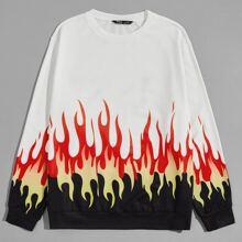 Men Fire Print Pullover