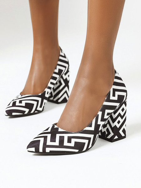 Milanoo Zapatos de tacon alto para mujer Bombas antideslizantes de punta blanca con tacon grueso PU