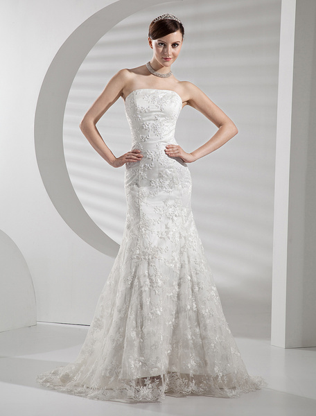 Milanoo Lace Wedding Dresses Strapless Mermaid Bridal Gown Trumpet Beaded Bridal Dress With Train