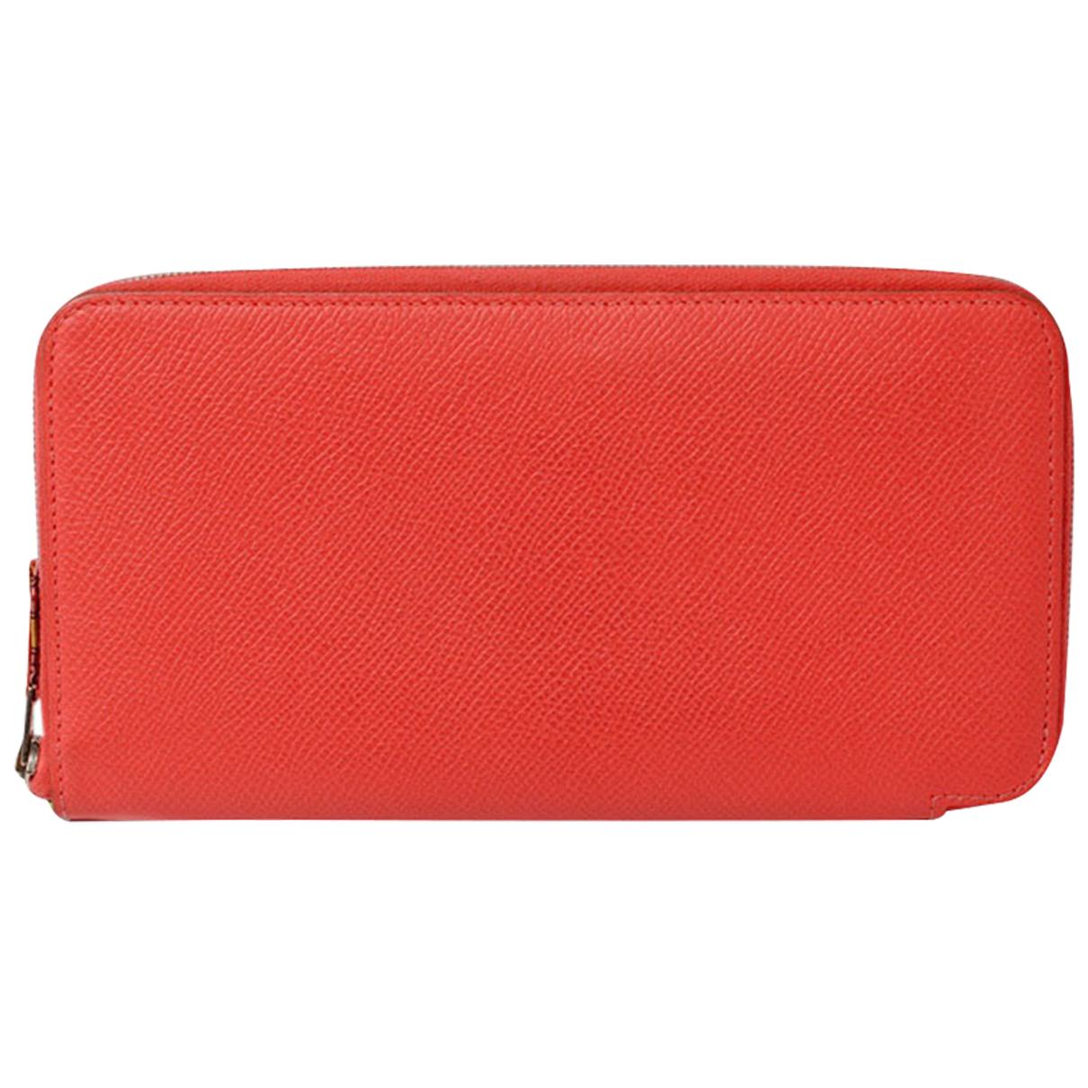 Hermes - Portefeuille Azap pour femme en cuir - rouge