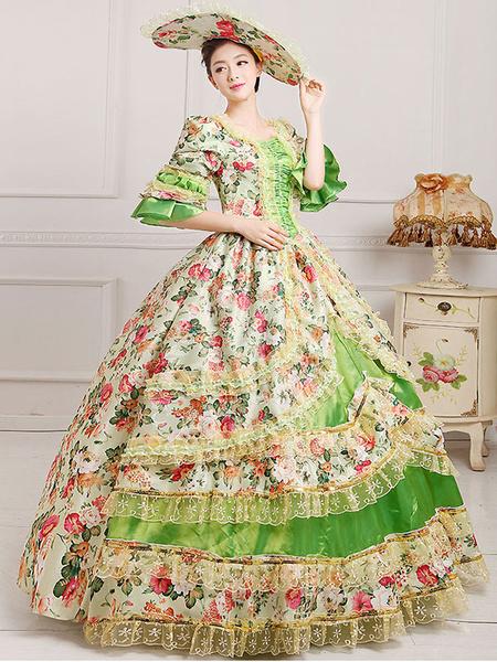 Milanoo Disfraz Halloween Traje Vintage Victorian Floral impresion Vestido de las mujeres con sombrero Halloween