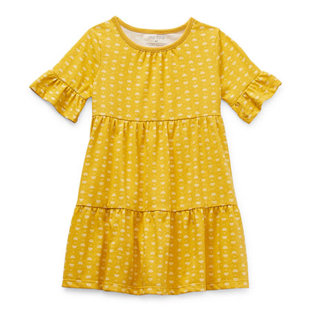 Okie Dokie Toddler Girls Short Sleeve Flutter Sleeve Swing Dress, 5t , Yellow