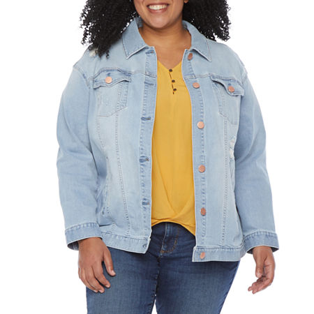 a.n.a-Plus Womens Oversized Distressed Denim Jacket, 1x , Blue