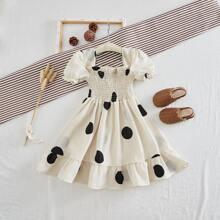 Toddler Girls Polka Dot Frill Shirred Bodice Dress