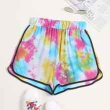Tie Dye Slant Pocket Dolphin Shorts