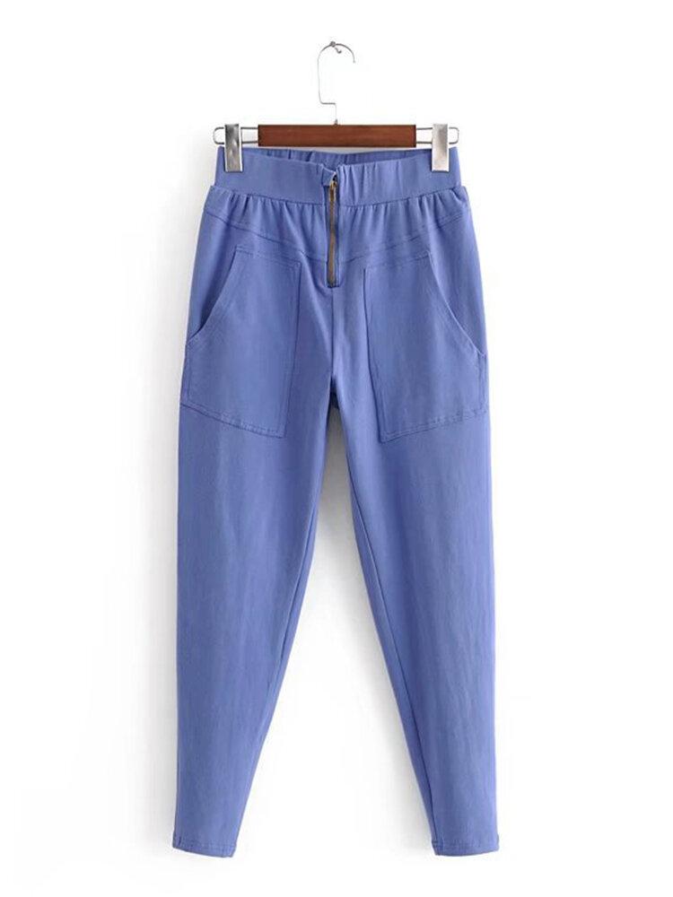 Elastic Waist Casual Big Pocket Trousers