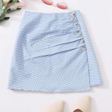 Plus Gingham Button Ruched Chiffon A-line Skirt