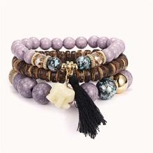 Elephant & Tassel Charm Beaded Bracelets