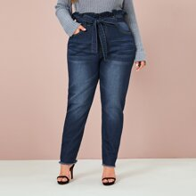Plus Paperbag Waist Raw Hem Belted Jeans