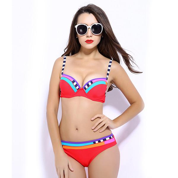 Patchwork Two-Piece Swimsuit Push Up Bikini Set