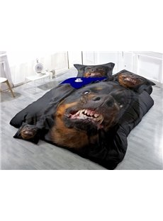 Angry Rottweiler Face Wear-resistant Breathable High Quality 60s Cotton 4-Piece 3D Bedding Sets