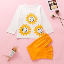 Top mit Sonnenblumen Muster & Hose mit Rueschenbesatz