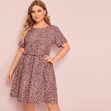 Ubergrosses Kleid mit Muster und Raffung