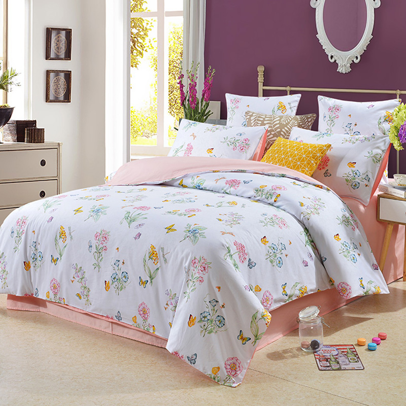 Fresh Flower Butterfly Polyester Four-Piece Set Bedding Sets Colorfast Skin-friendly Duvet Cover Fitted Sheet 2 Pillowcases