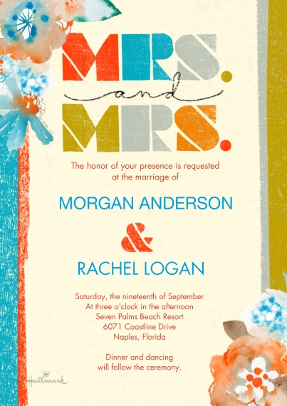 Wedding Invitations Flat Glossy Photo Paper Cards with Envelopes, 5x7, Card & Stationery -Colorful Stripes Mrs and Mrs