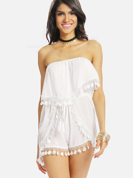 Yoins White Semi-sheer Off The Shoulder Lace Trim Playsuit