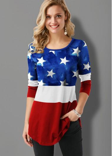 Flag Print Round Neck Long Sleeve Contrast T Shirt - XL