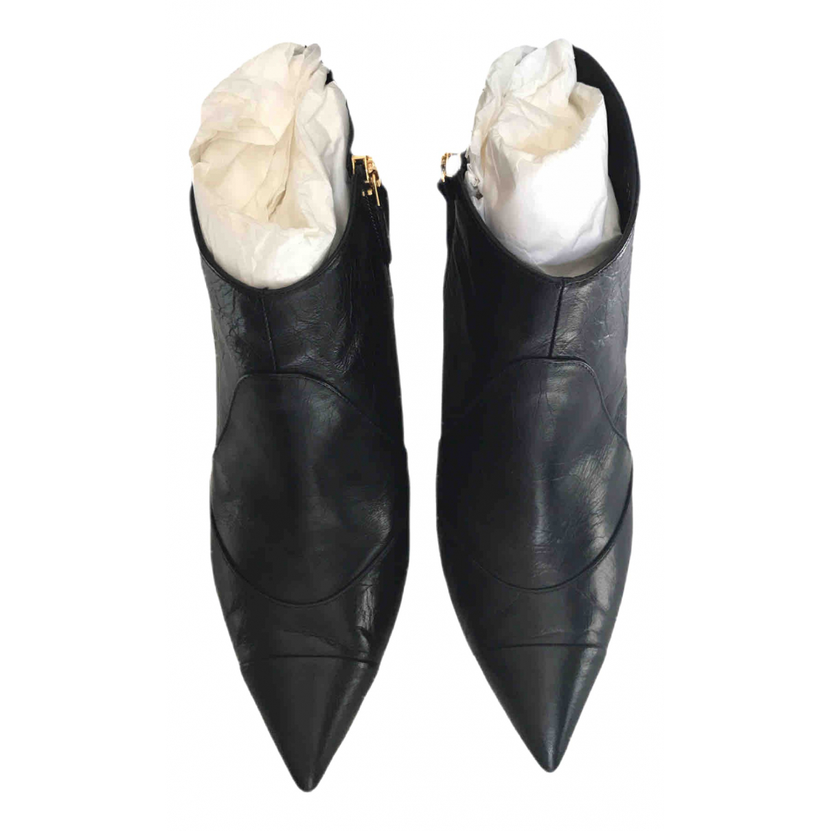 Chanel N Black Leather Ankle boots for Women 39.5 EU