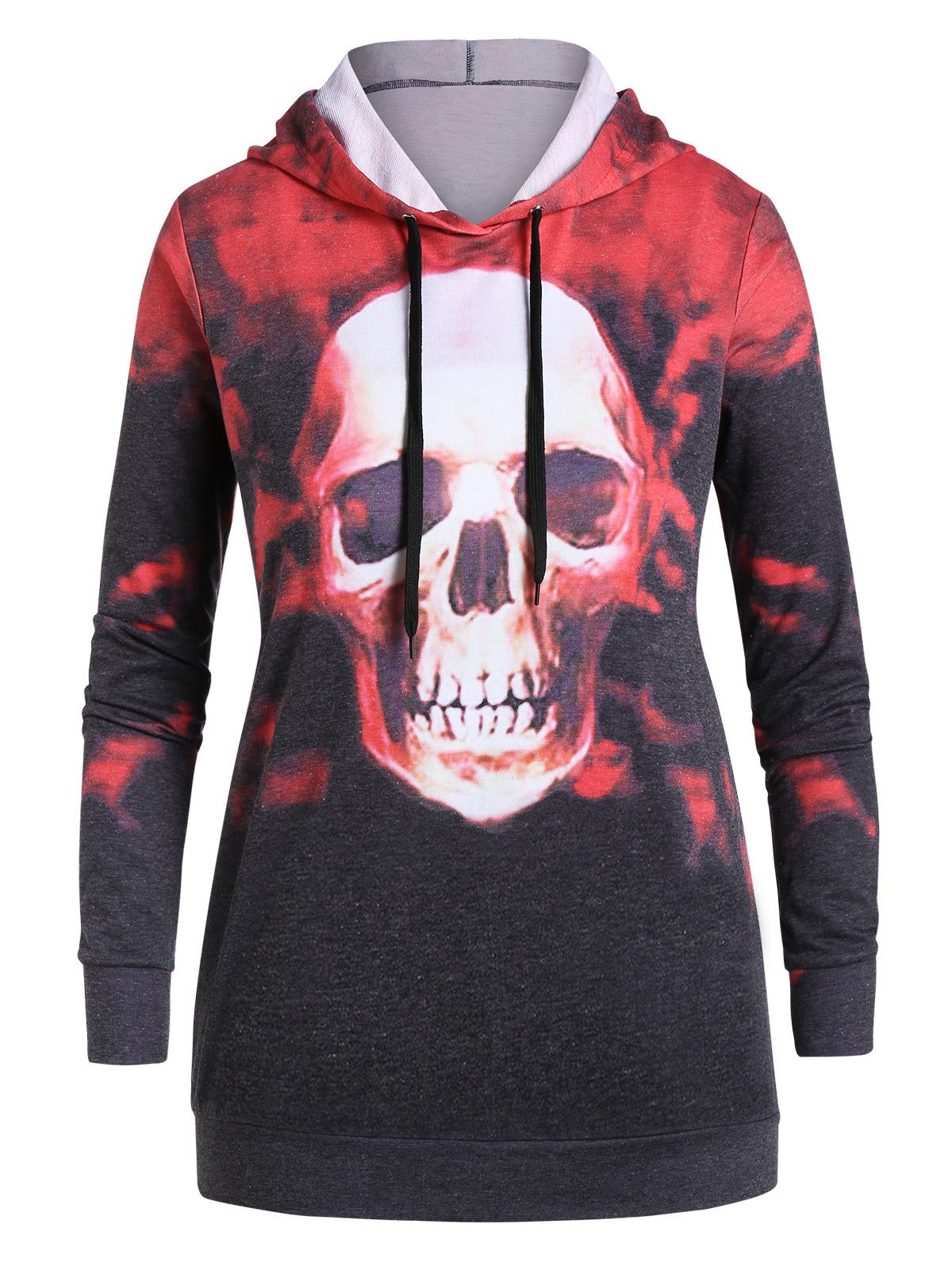 Plus Size Tunic Tie Dye Skull Print Hoodie