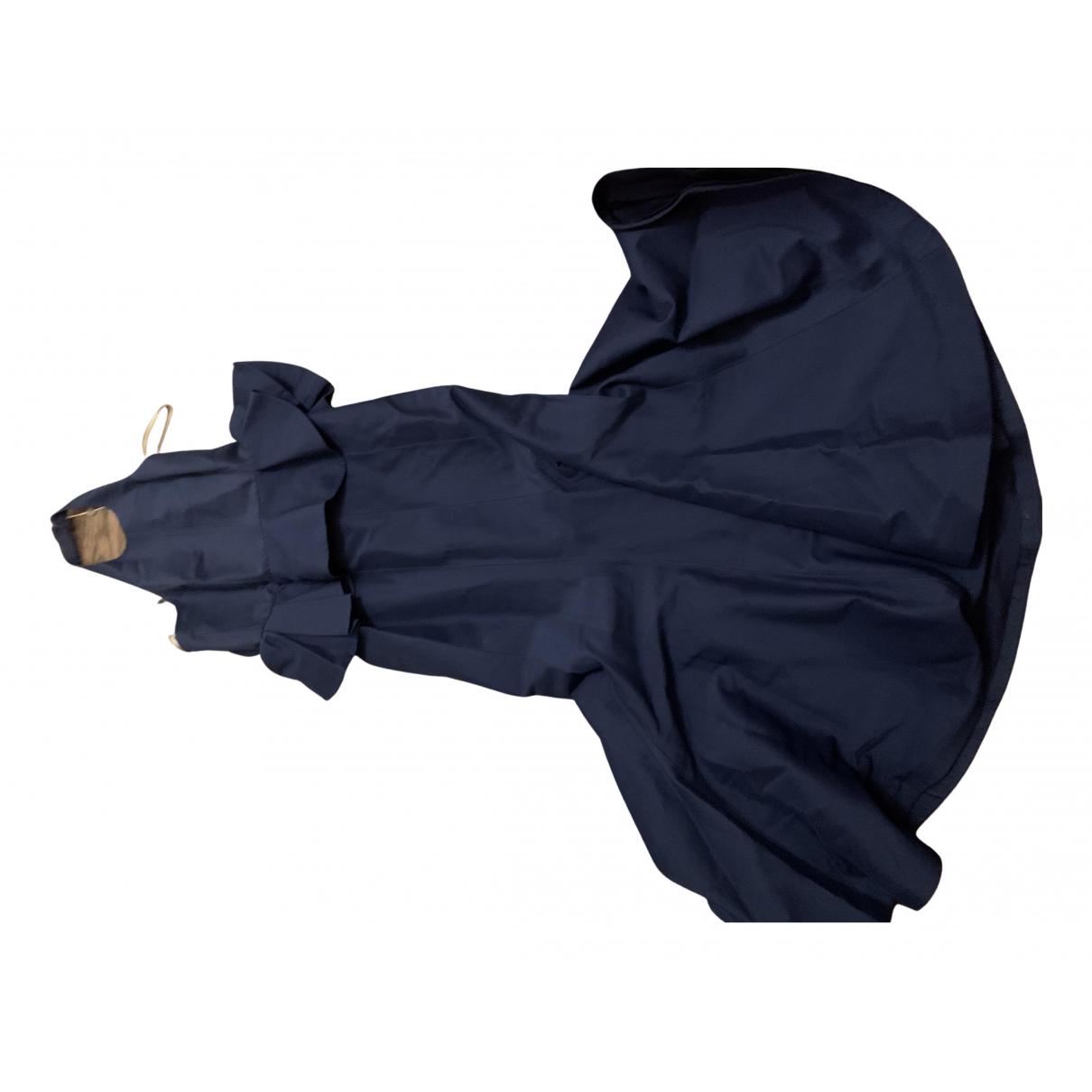 Halston \N Kleid in  Blau Baumwolle - Elasthan