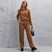Solid Cord Top & Pocket Side Pants Set