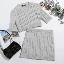 Solid Cable Knit Top & Skirt Set