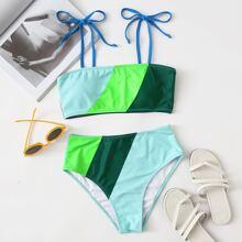Colorblock Tie Strap Bikini Swimsuit