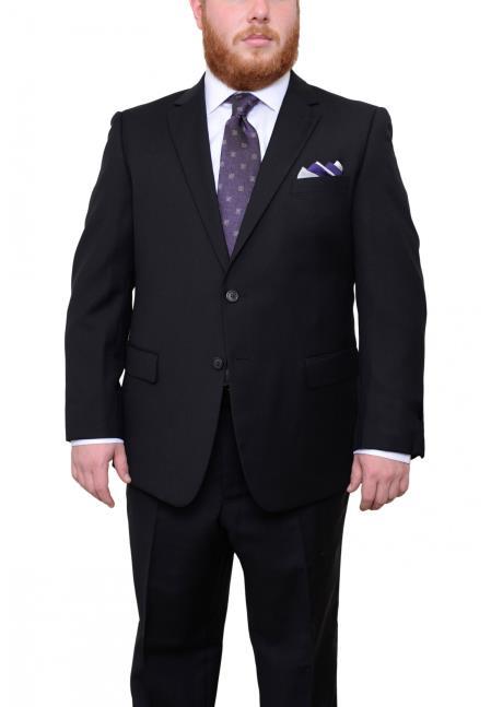 Mens Two Button Portly Fit Black Tonal Herringbone Pattern 1 Wool Suit
