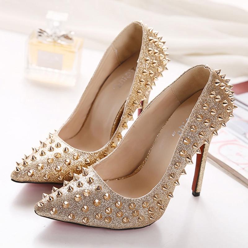 Ericdress Rivet Slip-On Pointed Toe Stiletto Heel Women's Pumps