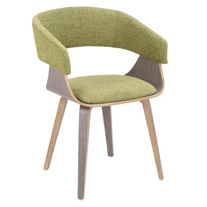 Envi Collection CH-ELISALGY+GN Chair with Mid-Century Modern Style and Padded Seat/Backrest in Light Grey and Green