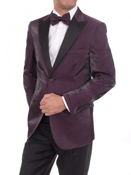 Men's Lapel Blue 2 Button Purple Sharkskin Slim Fit Blazer Sportcoat