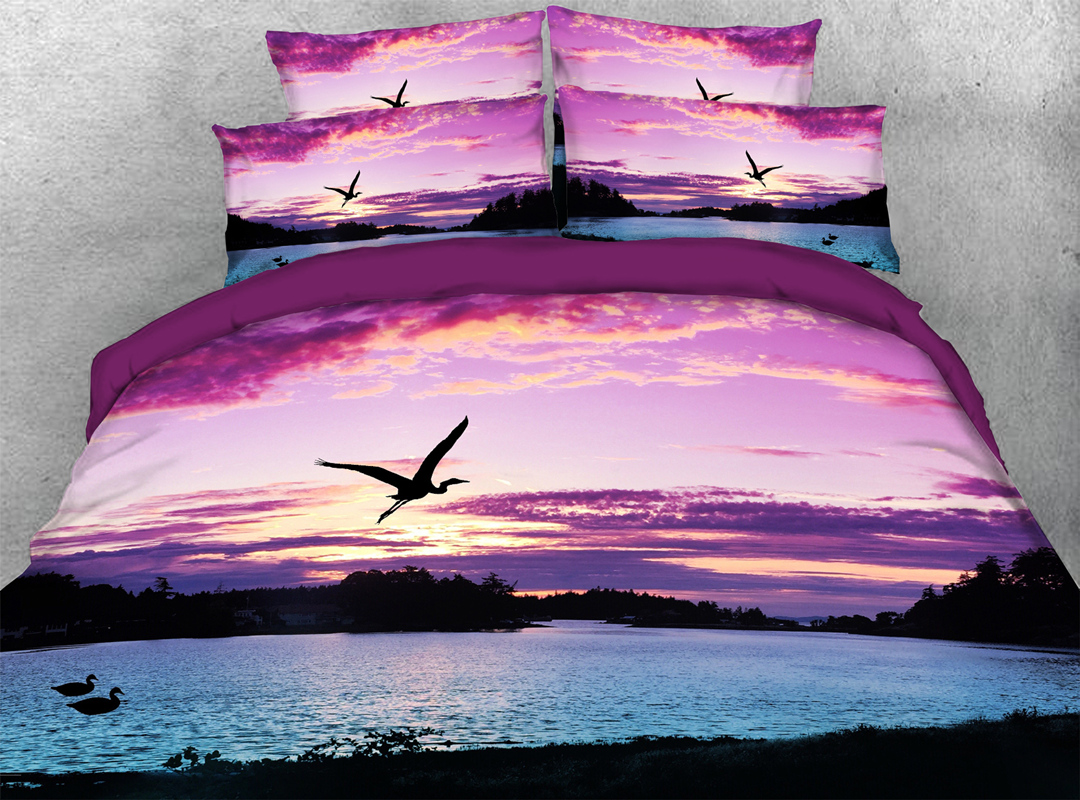 Seagull 3D Scenery Zipper 4pcs Bedding Sets No-fading Soft Reactive Printing Duvet Cover with Ties