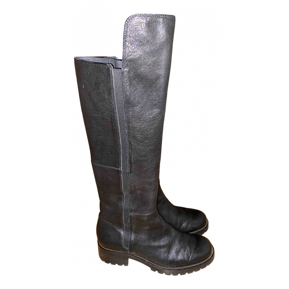 Non Signé / Unsigned N Black Leather Boots for Women 39 EU