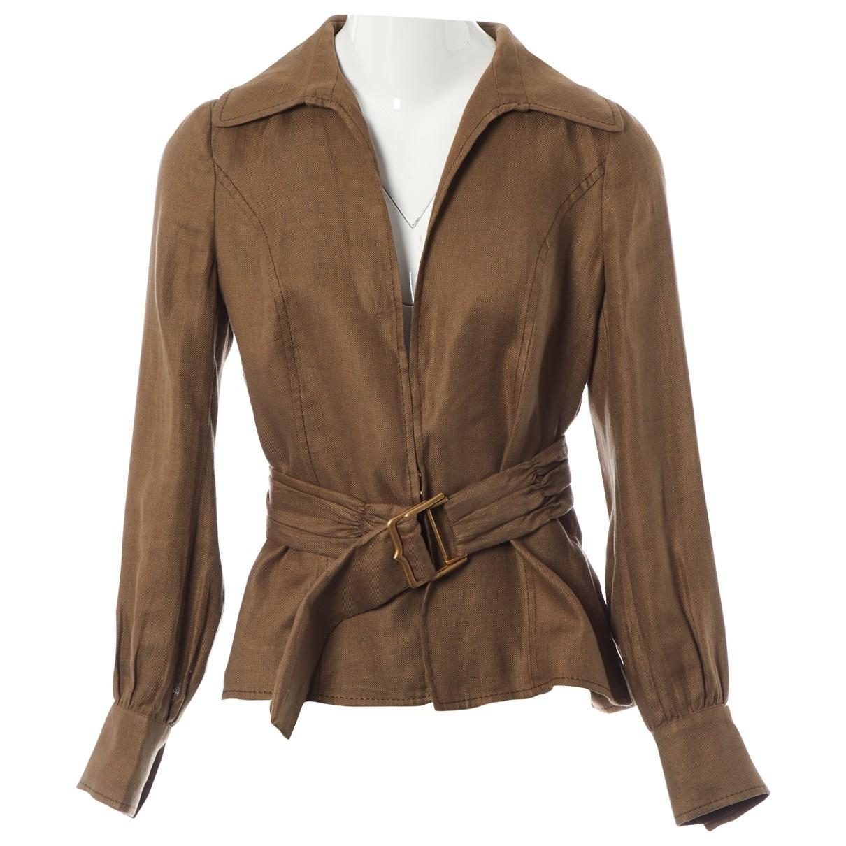 Valentino Garavani - Veste   pour femme en lin - marron
